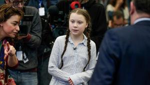 Klimataktivisten Greta Thunberg besöker Bryssel den 21 februari.