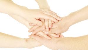Händer på varandra