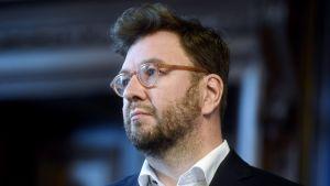 Timo Harakka (SDP) vid regeringens och arbetsmarknadsorganisationernas gemensamma sysselsättningsseminarium.