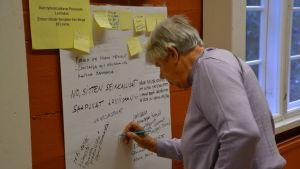 Kvinna står och skriver på en lapp på väggen.