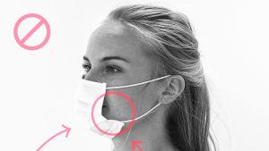Bild på hur man inte ska bära munskydd. En stor glipa syns mellan kinden och skyddet.