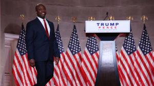Tim Scott som talar under Republikanernas partikonvent i USA 24.8.2020.