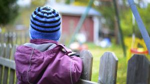 Litet barn vid staket.