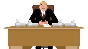 En tecknad bild av en man som sitter bakom ett skrivbord.
