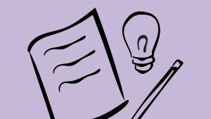 Piiroskuva, jossa kuva paperista, kynästä ja hehkulampusta.