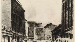 Bild på Harry Henrikssons verk Centralgatan (1945).