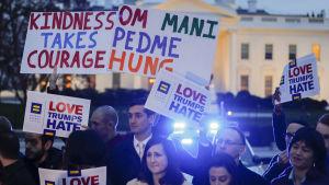 Demonstration i Washington i mars i protest mot direktivet om inreseförbud för personer från en del muslimska länder.