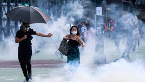 Polisen använde bland annat tårgas och pepparsprej mot demonstranter som bar ansiktsmasker eller gasmasker som polisen har förbjudit