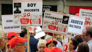 Demonstration mot abort i Barcelona, Spanien, i oktober 2012.