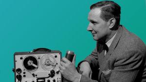 Oke Jokinen ja kannettava magnetofoni (1963).