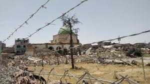Den numer förstörda Al-Nouri moskén i Mosul skymtar i bakgrunden. I förgrunden stängsel, taggtråd och bråte.