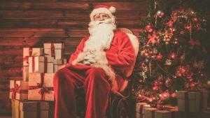 En rödklädd jultomte med långt vitt skägg sitter i en stol invid en julgran och en stor hög julklappar.