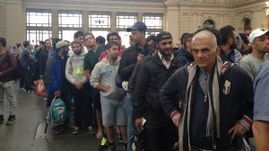 Flyktingar på Keletistationen i Budapest.