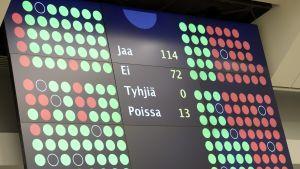 Regeringen fick riksdagens förtroende den 4.6.
