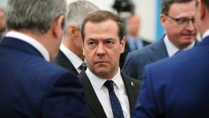 Premiärminister Dmitrija Medvedev diskuterar med partiledare
