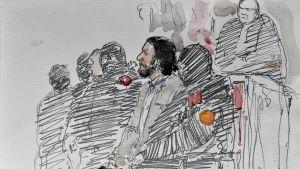 Salah Abdeslam under rättegången i Bryssel 5.2.2018.