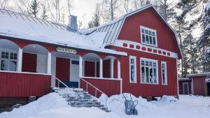 Föreningshuset Solhälla på tullandet i pellinge en dag med mycket snö
