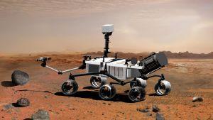 Marsrovern Curiosity på Mars. Konstnärens uppfattning av hur den ser ut.