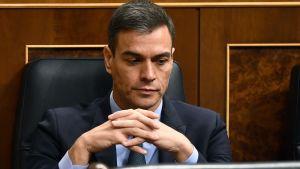 Pedro Sánchez under budgetdebatten 13.2.2019