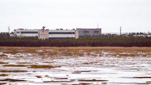 Gamla byggnader på en militärbas i Byn Nenoks. I förgrunden syns ett vattnigt kärr. Det är mulet.