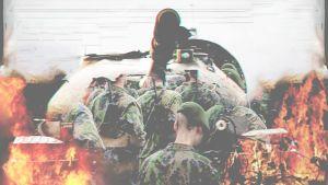 En grafisk bild av en pansarvagn med beväringar som är i eld.