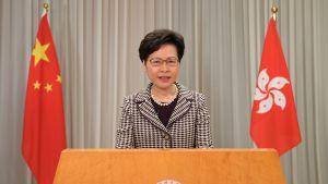 Hongkongs chefsminister Carrie Lam talade om nationella säkerhetslagen i ett tv-tal.