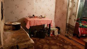 Ett mycket anspråkslöst kök i östra Ukraina