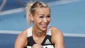 Annimari Korte ler efter pangloppet i Lahtis 2020.