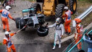 Lewis Hamilton after crash during FP3 at the 2014 Japanese Grand Prix