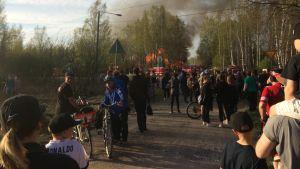 Brand vid Gamla Tavastehusvägen nära Järnvägsstationen i Borgå den 19 maj 2017.