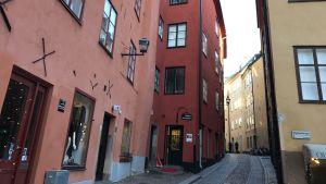 Trång kullerstensgata i Gamla stan i Stockholm, med rosa och rött hus.