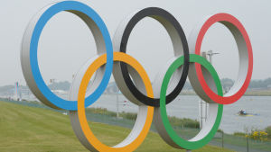 Olympiska ringarna i London 2012.