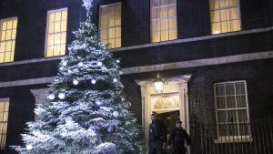 Julgran utanför 10 Downing Street, London