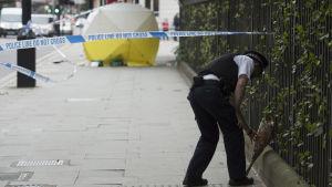 En polisman lägger en blombukett vid platsen för knivdådet i London.