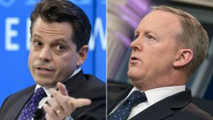 Vita husets kommunikationschef Anthony Scaramucci och den förre presschefen Sean Spicer.