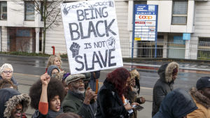 Manifestation mot slavhandel i Genéve.
