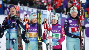 Evelina Piippo, Riitta-Liisa Roponen, Krista Pärmäkoski och Johanna Matintalo var stafetttrea för en vecka sedan.
