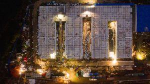 flygbild på det nybyggda coronavirussjukhuset i Hubei