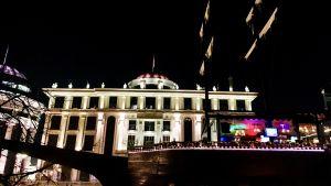 Utrikesministeriet i Skopje, Makedonien i nattbelysning.