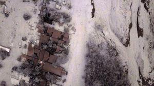 Vy över ny som förstörs i vulkanutbrott i Guatemala.
