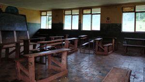 Etiopialaisen koulun luokkahuone