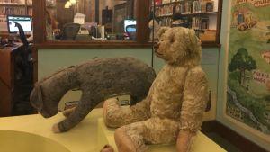 Eeyore ja Winnie-the-Pooh eli Ihaa ja Nalle Puh – kuuluisien hahmojen esikuvat eli Christopher Robin Milnen alkuperäiset pehmolelut esillä New York Public Libraryssä