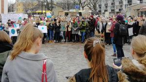 Flera hundra demonstranter på Lilltorget i Åbo.
