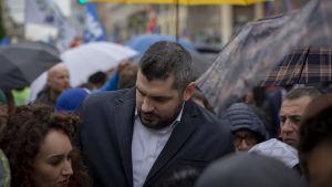 Salvinianhängare från olika delar av Italien samlades i Milano på lördag.