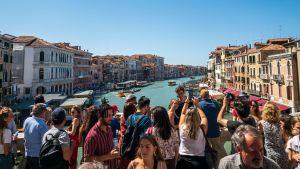 Turisteja Canal Granden ylittävällä Rialton sillalla Venetsiassa.
