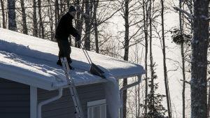 man som skottar snö på ett hustak