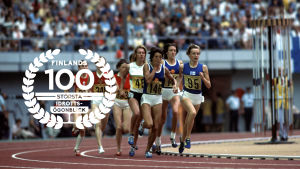 Nina Holmén, 1976 med logo för Finlands 100 största idrottsögonblick.