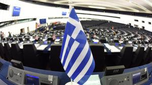 Grekisk flagga i Europaparlamentet i Strasbourg.