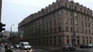 Vid bild på Lettlands försvarsministerium i Riga.