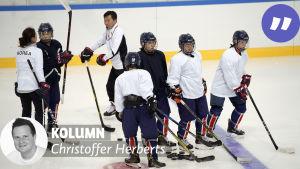 Ett koreanskt ishockeylag tränar inför OS 2018.